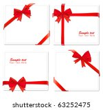 four cards with ribbons. vector. | Shutterstock .eps vector #63252475