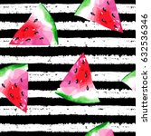 watermelon pattern on striped... | Shutterstock .eps vector #632536346