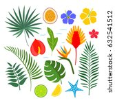 a set of tropical elements  ... | Shutterstock .eps vector #632541512