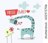 awesome retro cute giraffe... | Shutterstock .eps vector #632572706