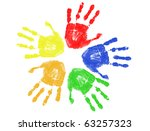 set of colorful hand prints...   Shutterstock .eps vector #63257323