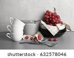 set of tableware with grapes on ... | Shutterstock . vector #632578046