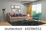 interior living room. 3d... | Shutterstock . vector #632586512
