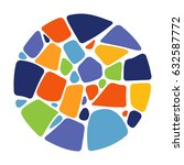 mosaic circle on white... | Shutterstock .eps vector #632587772