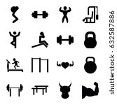 strong icons set. set of 16... | Shutterstock .eps vector #632587886