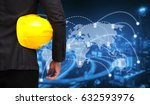 businessman with yellow safety... | Shutterstock . vector #632593976