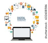 digital marketing laptop... | Shutterstock .eps vector #632608586