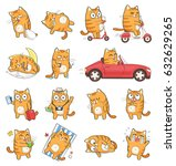 Stock photo set of cute cat character with different emotions isolated on white background 632629265
