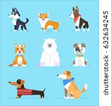 Stock vector set cartoon characters dogs in flat style on blue background 632634245