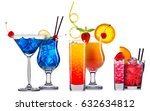 alcohol cocktail set on a white ... | Shutterstock . vector #632634812
