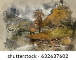 watercolour painting of... | Shutterstock . vector #632637602