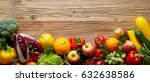 fresh fruits and vegetables mix ... | Shutterstock . vector #632638586