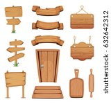 vector illustration of wooden... | Shutterstock .eps vector #632642312