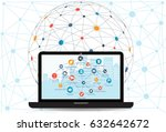 internet networking concept and ... | Shutterstock .eps vector #632642672