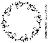 black and white round frame... | Shutterstock . vector #632645822