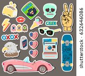 pop art fashion chic patches ... | Shutterstock . vector #632646086