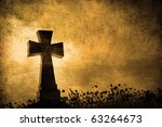Grunge Image Of A Cross In The...