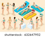 isometry set of girls in... | Shutterstock .eps vector #632647952