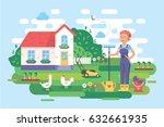 flat garden background. vector... | Shutterstock .eps vector #632661935