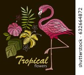flamingo bird embroidery design.... | Shutterstock .eps vector #632664872