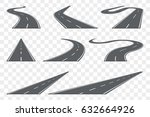 set of curved asphalt road in... | Shutterstock .eps vector #632664926