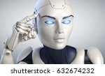 robot holds a finger near the... | Shutterstock . vector #632674232