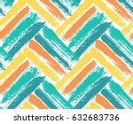 Painted chevron pattern. Seamless brush stroke lines. Sketchy hand drawn graphic print. Orange, yellow and blue background. Grungy decoration. Vector design. Wallpaper, furniture fabric, textile. | Shutterstock vector #632683736
