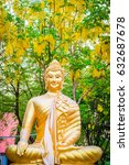 buddha with yellow flowers in... | Shutterstock . vector #632687678