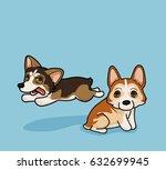vector illustration two cute... | Shutterstock .eps vector #632699945