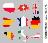 9 europian flag maps set | Shutterstock .eps vector #632700476