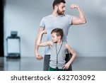 boy with young man  his trainer ... | Shutterstock . vector #632703092