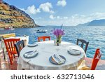 traditional greek tavern with... | Shutterstock . vector #632713046