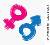 gender symbols drawn with a... | Shutterstock .eps vector #632714216