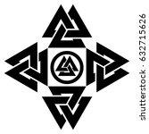 triangle logo. valknut is a... | Shutterstock .eps vector #632715626
