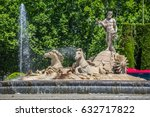 Small photo of Fountain of Neptune (Fuente de Neptuno) one of the most famous landmark of Madrid, Spain