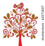 bird in a tree | Shutterstock .eps vector #63271837