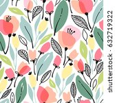 seamless floral pattern with... | Shutterstock .eps vector #632719322