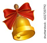 last golden bell and red bow.... | Shutterstock .eps vector #632720792