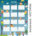 cute calendar for the new year... | Shutterstock .eps vector #632724566
