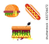 flat style fast food vector set ... | Shutterstock .eps vector #632726672