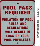 sign.  pool pass required. | Shutterstock . vector #63273