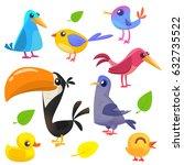 cute cartoon birds collection.... | Shutterstock .eps vector #632735522