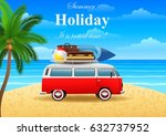 summer travel illustration with ... | Shutterstock .eps vector #632737952