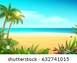 tropical paradise island sandy... | Shutterstock .eps vector #632741015