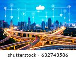 smart city and technology icons ... | Shutterstock . vector #632743586