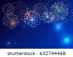 brightly colorful fireworks on... | Shutterstock .eps vector #632744468