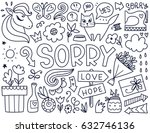 doodles cute isolated elements. ... | Shutterstock .eps vector #632746136