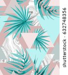 seamless geo tropical pattern... | Shutterstock . vector #632748356