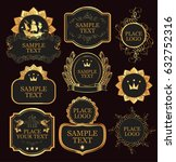 set of vector ornate labels... | Shutterstock .eps vector #632752316