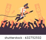 rock guitarist plays at concert | Shutterstock .eps vector #632752532
